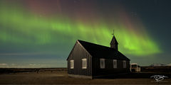 Iceland, aurora, borealis, green, violet, stars, northern lights, panorama, ribbon, spirit, coronal mass ejection, solar flare, energy, nordic, arctic, church, black, budir, Búðir, cross, steeple