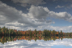 autumn, fall, colour, colours, color, colors, leaves, new england, maine, reflection, lake, pond, water, echo lake, clouds, sky
