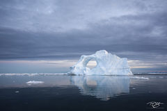 greenland; ilulissat icefjord; Kangia icefjord; ice; iceberg; ; ice arch; arch; reflection, arctic mirror