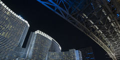 aria, architecture, girder, building, lights, hotel, resort, blade runner, futuristic, blue, neon, abstract, las vegas