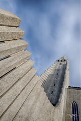 Hallgrimskirkja, church, cathedral, architecture, basalt, columns, chapel, cathedral, salvation, beacon, cross, abstract