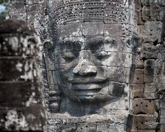 angkor wat, cambodia, temple, bayon, Avalokiteshvara, carving, stone, sculpture, ancient, buddha, buddhism, buddhist, smiling buddha, at peace, peace, tranquility, solace, contemplative, calm, calming