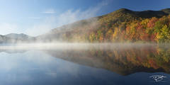 autumn, fall, colour, colours, color, colors, leaves, new england, new york, adirondack mountains, adirondacks, fog, reflection, pond, lake, mist, debar pond
