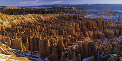 panorama, Bryce Canyon, silent city, glowing hoodoos, sunrise, daybreak, warm light, snow, wintertime, winter, white, amphitheatre, amphitheater, bryce, bryce canyon, bryce canyon national park