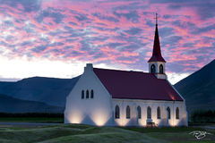 iceland, Þingeyri, church, chapel, cathedral, steeple, sunset, mackerel sky, magenta, pink, fiery sky, westfjords, west fjords