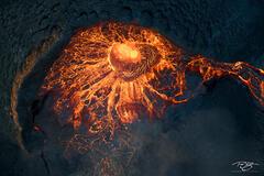 A rare glimpse inside the caldera of an erupting volcano