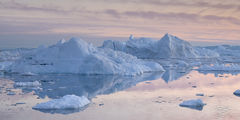 ilulissat icefjord; kangia icefjord; ice; iceberg; reflection; dusk; eventide; twilight; pastel sky; pink sky; alpenglow