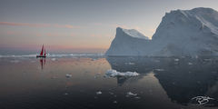 ilulissat icefjord; kangia icefjord; ice; iceberg; reflection; dusk; eventide; twilight, sailboat, yacht, red sails, scarlet sails