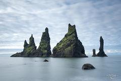 iceland, trolls, troll, reynisdrangar, icelandic trolls, icelandic troll, vik, myrdal, reynisfjara, sea stacks, sea stack, rock formations, rocks, rugged landscape, moss, basalt
