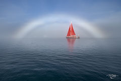 fog; foggy; mist; dreamy; disko bay; sailboat; sailing; red sails; schooner; sails; rainbow; fogbow; reflection; scarlet sails
