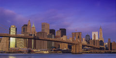 New York, NYC, New York City, Lower Manhattan, Brooklyn Bridge, Sunrise, Pastels, Pier 17, Wall Street, Financial District, Woolworth building, Fulton Fish Market, Brooklyn, panorama