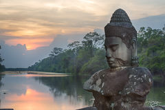angkor wat, cambodia, temple, guardian, asuna, buddha, guardian, causeway, statue, siem reap river, sunset, peace, calm, tranquil, noble, gate, bridge, angkor wat, angkor thom