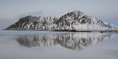 panorama, norway, gallery, lofoten, reflection, hustinden, flakstadoya, beach, skagstanden, beach, coast, waves, long exposure, ethereal, snow, rugged, strong, peaceful, quiet, serene