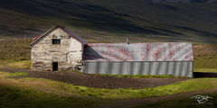 iceland, selective lighting, farm, barn, farmhouse, rural, rural scene, weathered, patina, peeling paint, abandoned, worn, light, shadow, In the Spotlight