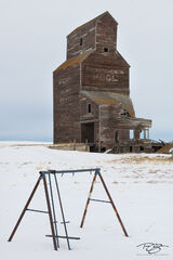 grain elevator, saskatchewan, saskatchewan pool, bents, winter, snow, ghost town, swing set, abandoned, playground