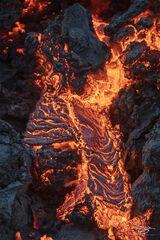 Closeup photograph of Molten lava