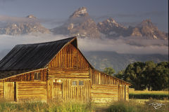 Wyoming, Mormon Row, Moulton, Barns, Tetons, Grand Teton, sunrise, moulton barn, barn and tetons, barn, mountains, snow, golden light, meanwhile back at the ranch