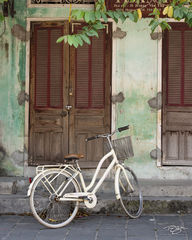 vietnam, bicycle, bike, green wall, shutters, door, wood, white, hoi an, worn paint, peeling paint