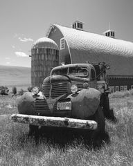 old truck, The Old Farmhand truck and barn, black and white, monochrome, farm truck and barn, farm, silo, barn, truck, antique farm truck, working truck, old, antique, dodge farm truck, dodge work tru
