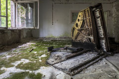 chernobyl, chornobyl, pripyat, exclusion zone, abandoned, forgotten, wasteland, radioactive, decay, peeling paint, moss, reclamation, green, wood, piano, grand piano, tipped over, keys, on edge, mold,