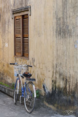 vietnam, bicycle, bike, yellow wall, shutters, door, wood, blue, hoi an, worn paint, peeling paint