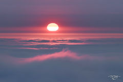 sunset, pink, pastel, pacific, ocean, fog, foggy, inversion, layer, melt