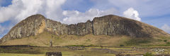 rapa nui, easter island, rano raraku, panorama, clouds, whispy, the factory, isla de pascua, chile, moai, stone statues, giant heads, pop culture, hand carved heads, giant faces, long ears, short ears