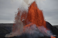 The Fountaining of Lava during a volcanic eruption