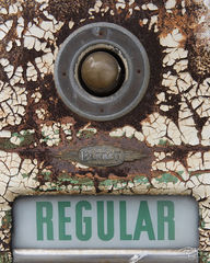 gas pump, fuel pump, petrol, peeling paint, gas station, fueling station, abandoned, derelict, old, weathered, rust, rusty, rusted, regular, fuel, gasoline