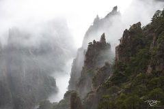 huangshan, china, yellow mountains, floating mountains, clouds, inversion, fog, spires, towers