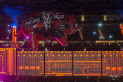 roger waters, pink floyd, in concert, performing, us + them, us and them, pig, flying pig, animals