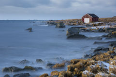 norway, gallery, boathouse, boat house, winter, cold, secluded, seclusion, smoky, waves, rocky shoreline, rocky coastline, quiet, reflective, reflection, peaceful, serene, seclusion, Moskenes, Reine