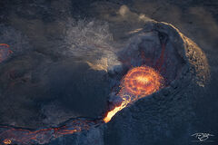 A rare aerial perspective over top the Geldingadalir volcano, just moments before erupting