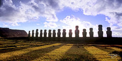 rapa nui, easter island, sunrise, panorama, clouds, whispy, shadows, silhouette, isla de pascua, chile, moai, stone statues, giant heads, pop culture, hand carved heads, giant faces, long ears, short