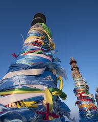 russia, lake baikal, siberia, ice, winter, Pribaikalsky National Park, Прибайкальский национальный парк, Pribaykalski National Park, shaman poles, shaman pillars, serge, sergey, sergei, ribbons, shama
