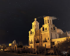 arizona, san xavier del bac, San Xavier del Bac, mission, old southwest mission, old mission, old spanish church, san xavier, white dove of the desert, starry night, star-filled sky, san xavier del ba