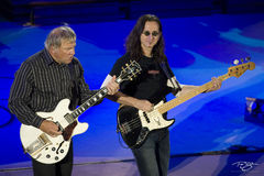 rush, alex lifeson, in concert, performing, rock concert, time machine tour, 2010, gibson, white, guitar