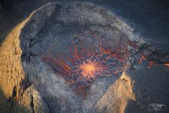 A closeup of the temporarily dormant caldera of an active volcano