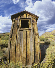 bodie, California, storm clouds, derelict, outhouse, privy, ghost town, rusting, out house, toilet, call of nature, bathroom, relief, fisheye, old wood