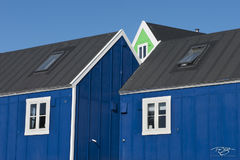 Ittoqqortoormiit, itto, township; inuit settlement; village; town; settlement; inuit; community; architecture, house, home, green, blue, paint, blue sky, a frame