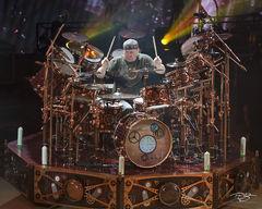 rush, neil peart, drumming, drummer, baterista, professor, pratt, in concert, performing, rock concert, time machine tour, 2010, drum workshop