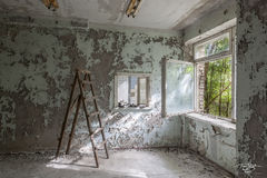chernobyl, chornobyl, pripyat, exclusion zone, abandoned, forgotten, wasteland, radioactive, decay, peeling paint, hospital, ladder, window, renovation, fixer upper, home improvement, handyman special