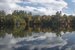 autumn, fall, colour, colours, color, colors, leaves, new england, maine, reflection, lake, pond, water, echo lake, cabin, clouds, sky