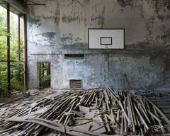 chernobyl, chornobyl, pripyat, exclusion zone, abandoned, forgotten, wasteland, radioactive, decay, school, middle school, gymnasium, gym, warped floorboards, reclamation, warped, peeling paint, dust