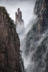 huangshan, china, yellow mountains, floating mountains, clouds, inversion, fog, spires, towers, hidden castle