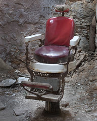 barber chair, haircut, peeling paint, paint, red, reclamation, collapse, jail, prison, hot seat, penitentiary, eastern state, abandoned, debris, old, spooky, scary, seat, chair