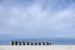alberta, winter, snow, prairie, silos, wheat field; minimalist
