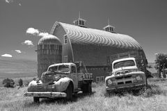 old trucks, The Old Farmhands, truck and barn, black and white, monochrome, farm truck and barn, farm, silo, barn, truck, antique farm truck, working truck, old, antique, dodge farm truck, dodge work