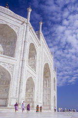 india, taj mahal, mausoleum, marble, clouds, pilgrims, agra, india mausoleum, temple, pilgrimmage, architectural marvel, balance, perfection, mosque, sari