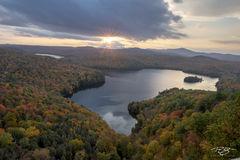 autumn, fall, colour, colours, color, colors, leaves, new england, nichols pond, nichols ledge, vermont, fog